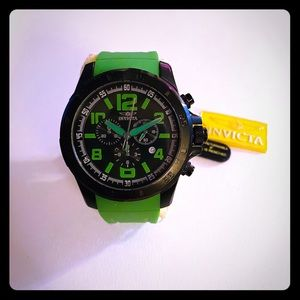 Invicta Men's Chronograph Black Dial Green Watch